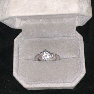 Sterling Silver Engagement Ring with 1 Carat CZ